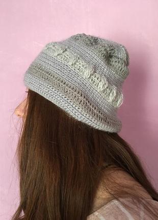 Красивая шапка вязаная ручная работа стильная