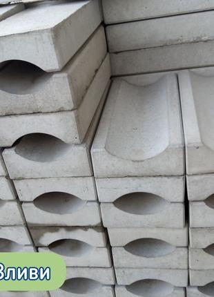 Водовідливи, водостоки, лотки, бетонні (отлив, желоб бетонный)