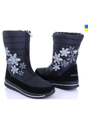 Женские зимние черные сапоги дутики с рисунком снежинками украина