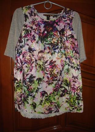 Женская футболка тонкая летняя новая размер 48-50 / 16 цветочн...