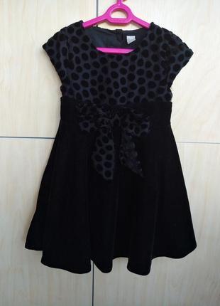 Нарядное бархотное платье tu на 2-3 года