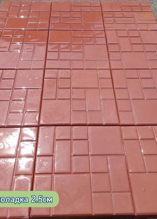 "Тротуарна плитка 25на25 ""шоколадка"" сіра та червона"