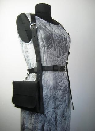 Поясная сумка на ремне  с портупеей из плотной натуральной кож...