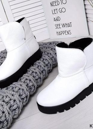 ❤️стильная обувь на эту зиму❤️ top белые зимние кожаные сапоги...