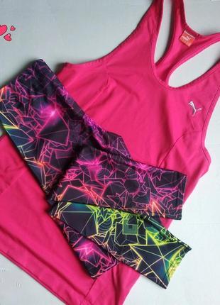 Комплект яркий леггинсы и майка,одежда для фитнеса