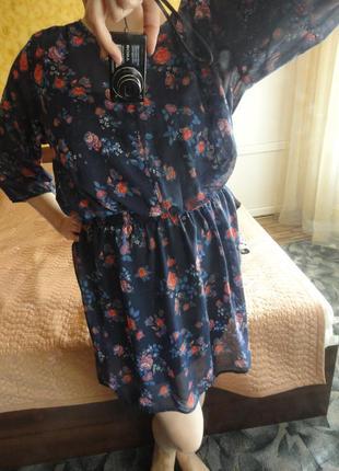 Красивое цветочное шифоновое платье