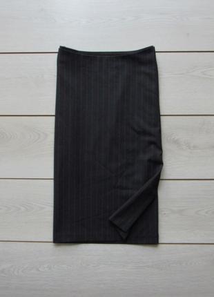 Акция к новому году! легкая юбка карандаш в полоску с разрезам...