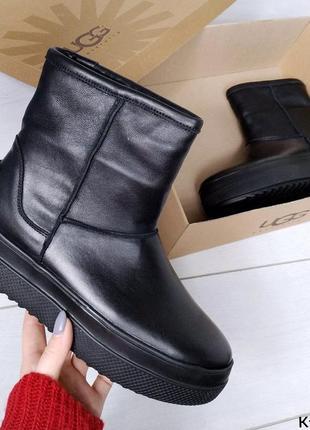 ❤️короткие натуральные зимние кожаные сапоги угги на меху❤️