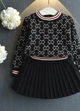 Костюм модный юбка свитер для девочки модницы