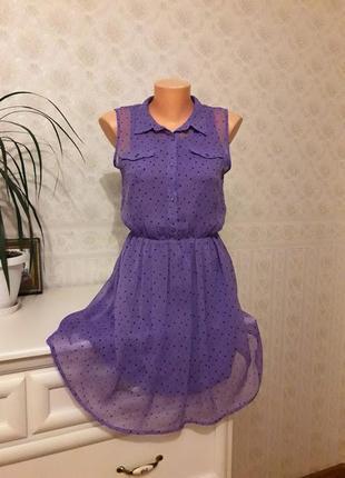 Сиреневое шифоновое платье в сердечки h&m, р. 14+