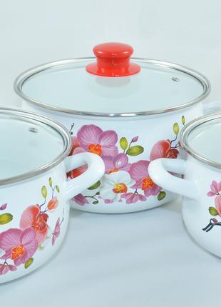 Набор посуды / кастрюль эмалированных (2 ,3 ,4 л ) для всех плит