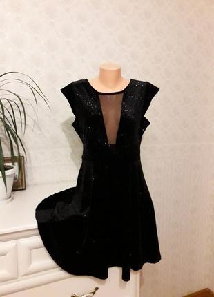 Черное бархатное платье с золотыми блестками, р. 16