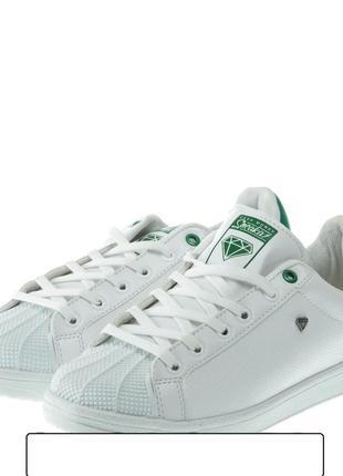 Кроссовки для мужчин, белые с зеленым - cash money 38 р