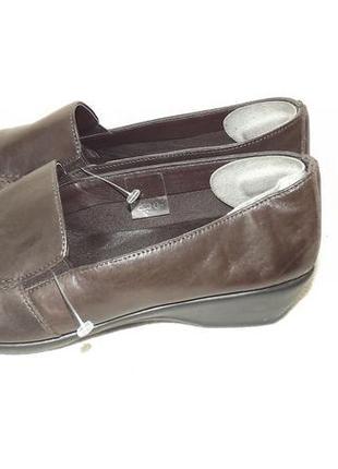 Туфли кожаные коричневые танкетка маленькая 36 размер