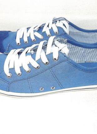 Мокасины синие текстиль, замш skills 40 размер 26,5 см