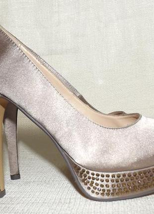 Туфли платформа каблук бежевые нарядные primadonna 24 см