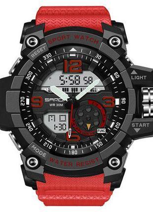 Мужские Наручные часы кварцевые Sanda 759 Red-Black , водонепр...