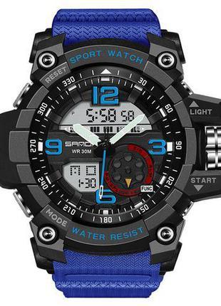 Мужские Наручные часы кварцевые Sanda 759 Blue-Black , водонеп...