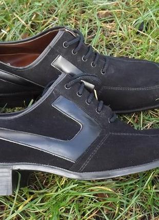 Туфли замша чёрные классические на низком ходу 39 р.