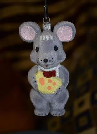 Елочное украшение, мышка с сыром