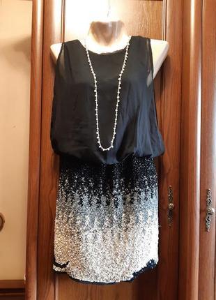 Вечернее короткое черное платье с пайетками блестящее lace & b...