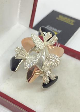 Новое серебряное кольцо зол.пластины эмаль куб.цирконий серебр...
