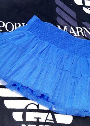 Пышная юбка пачка юбка из фатина синяя для танцев пиджеек гоу ...