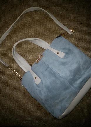 Женская сумка замша кожзам