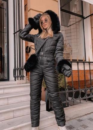 Комбинезон зимний с рукавичками и сумкой черный