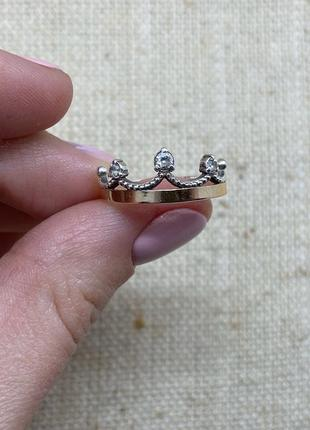 Кольцо в виде короны, колечко, серебряное кольцо со вставкой з...