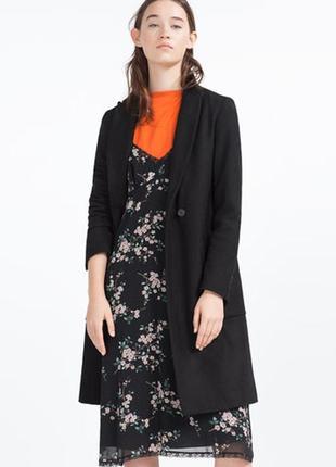 Шерстяное пальто демисезонное zara