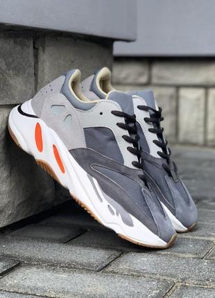 Шикарные мужские кроссовки adidas yeezy 700 wave runner grey m...