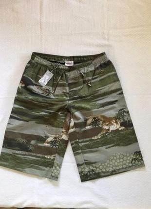 Мужские шорты ! новые! принт -  тропический, тигр в джунглях!