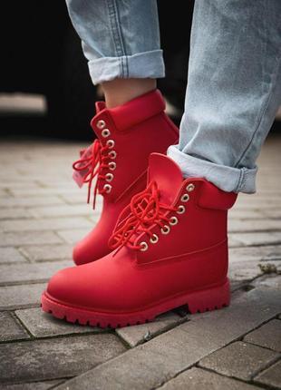 Стильные демисезонные ботинки timberland в красном цвете /осен...