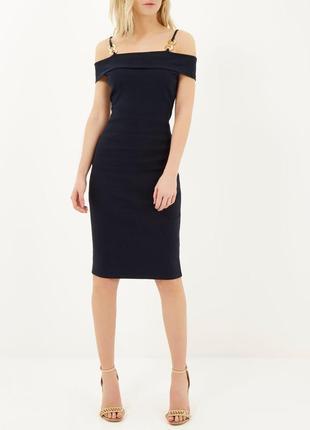 Актуальное платье миди в рубчик, со спущенными плечами #2max