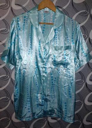 Атласный комплект для сна, пижама, рубашка, шорты