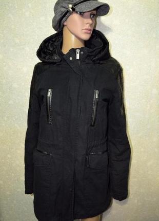 Теплая парка, куртка, с кожаными вставками