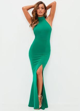 Нереальное яркое вечернее платье макси, рыбка с разрезом, откр...