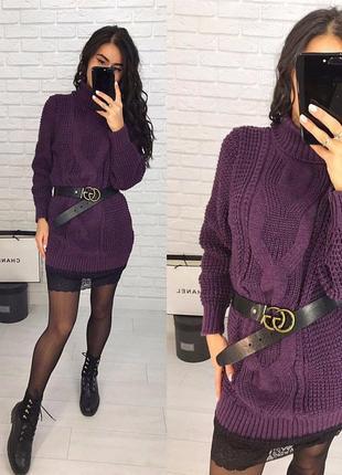 Стильное вязаное шерстяное  платье-туника с кружевом