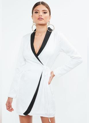 Платье пиджак на запах, стильное платье блейзер  белое missguided
