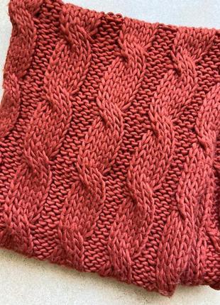 Шарф, снуд, вязаный хомут рыжего( красного) цвета