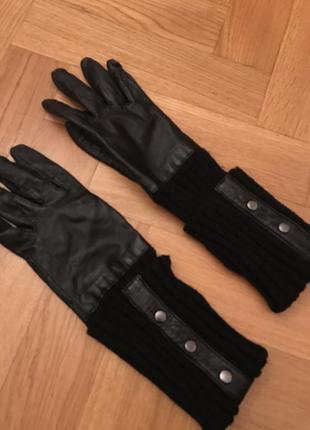 Кожаные перчатки с трикотажной накладкой