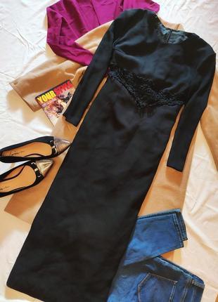 Чёрное платье миди длинное с кружевом на талии костюмка класси...