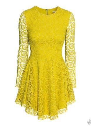 Желтое платье h&m