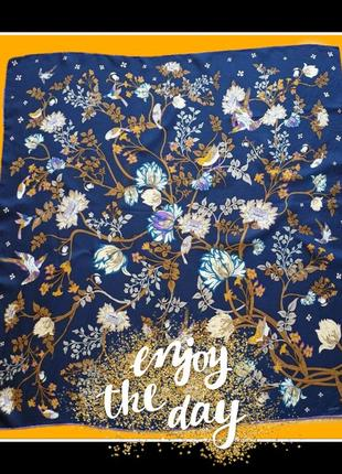 Codello, шёлковый синий платок с птицами