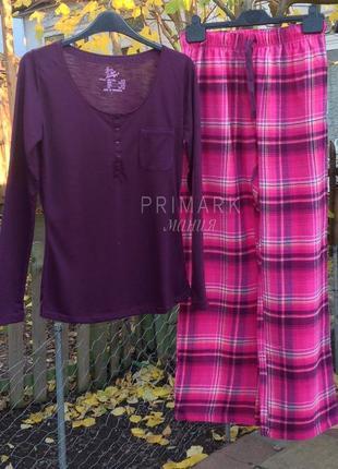Женская пижама трикотаж + фланель . primark