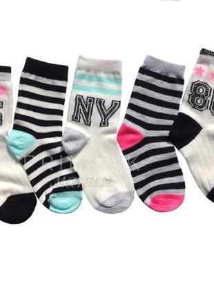 Носки для девочки 5 шт (23-30 евр) primark