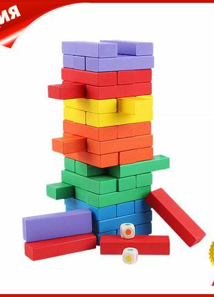 Настольная деревянная игра башня Дженга Lesko QQ-5180 48 бруск...