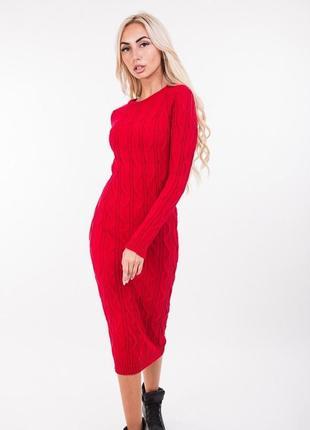 Базовое теплое вязаное платье-миди свитер сукня плаття міді вя...