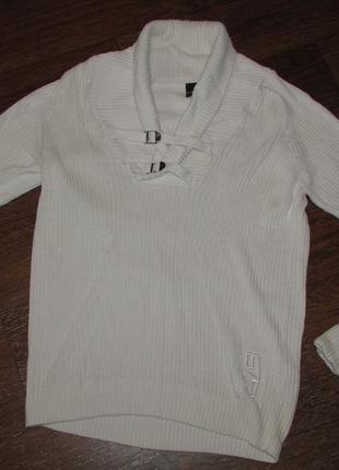 Брендовый белый джемпер пуловер р-ра хл ,  plaza italia man ит...